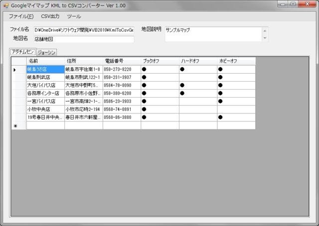 KMLファイルをCSV 形式に変換するソフトウェア