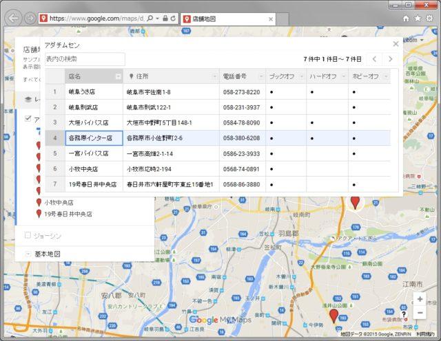 googleマイマップ データ表示