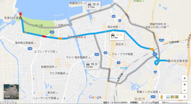 敦賀インターから気比の松原海水浴場までのルート