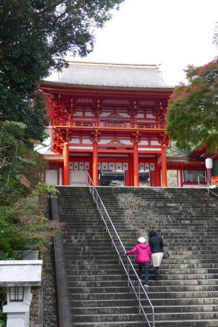 DMC-FZ1000で撮影 近江神宮の楼門 階段より