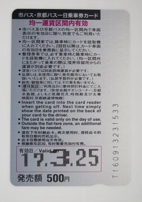 市バス・京都バス「一日乗車カード」裏面、日付入り