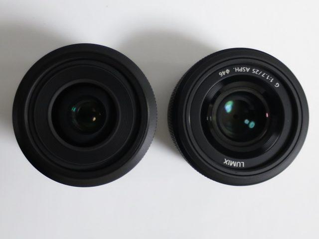 LUMIX 30mmマクロと25mm F1.7の正面