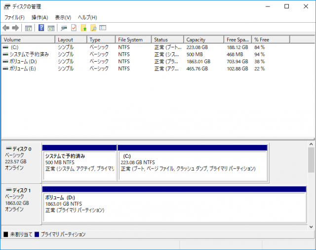 SSD交換後のディスクの管理