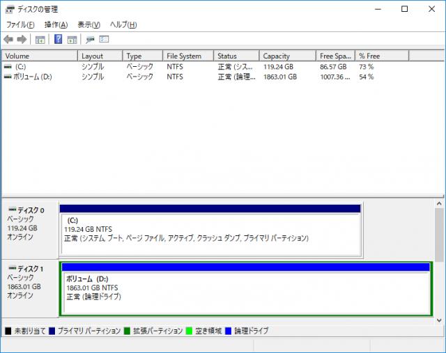 Windows10をSSDに移行した様子