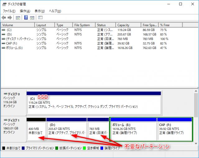 SSD交換後の「ディスクの管理」