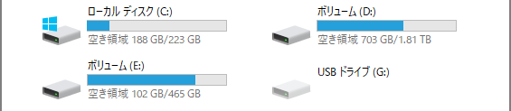 SSD交換後のドライブ