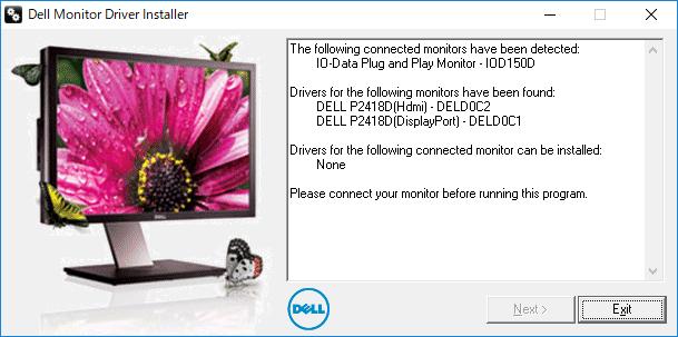 Dell Monitor Driver Installerのウィンドウ