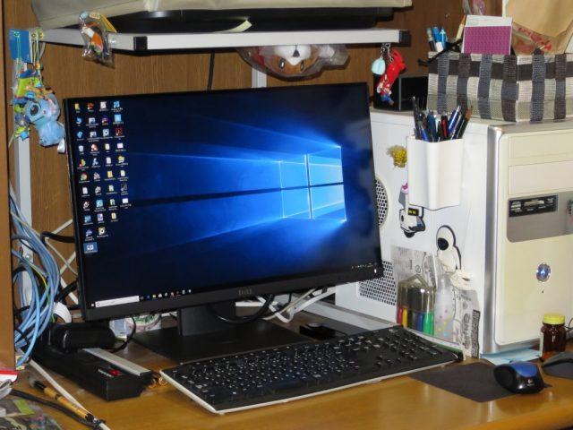 デスクトップPCにP2418Dを接続