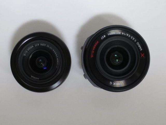 LUMIXレンズ 12-32mmとPZ14-42mmを上から比較