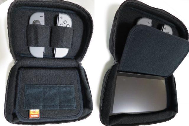 Nintendo Switch専用スマートポーチコンパクト スーパーマリオ スイッチを収納した内部の様子