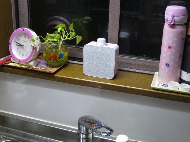 耳元スピーカー 山善 YWTS-800をキッチンに設置