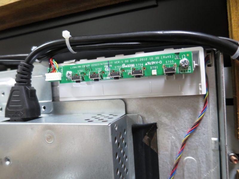 LCD-AD192SEDSWの操作パネルを液晶パネル背面に固定