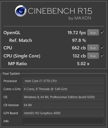 Core i7にCPU交換したDELL Optiplex3010でCINEBENCH R15を実行