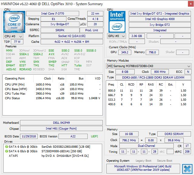DELL Optiplex3010にCore i7を搭載してHWiNFO64でステータス確認