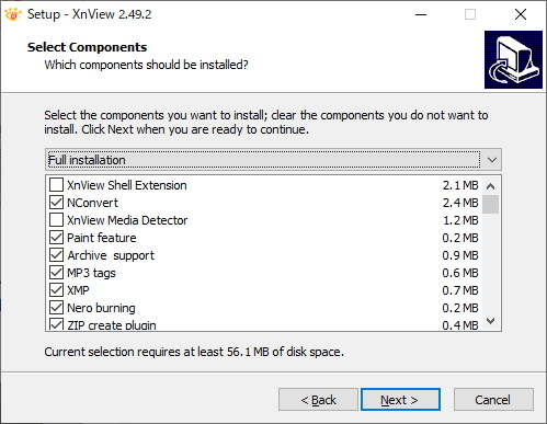 XnViewインストール コンポーネントの選択
