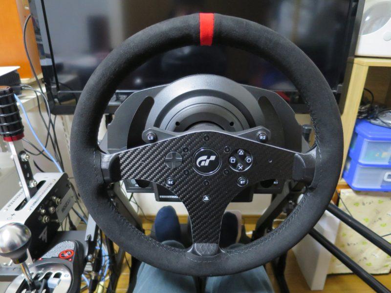SIMPUSH スラストマスター Thrustmaster T300 レーシングゲームステアリングホイール 改造ハンドル(カーボンファイバー,スエード,33cm)